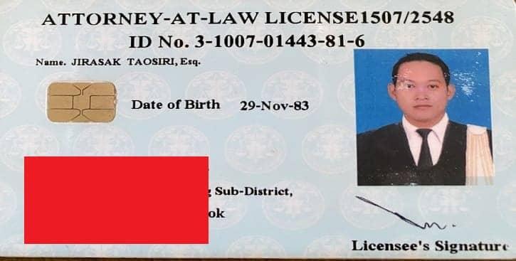 Bangkok lawyer license