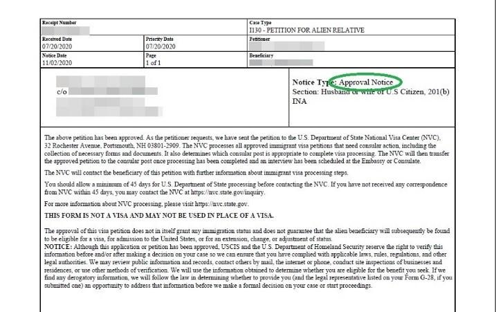 us spouse visa receipt of notice